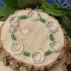 silver bracelet with jade