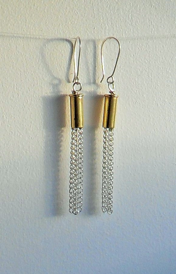 Chain dangle shell casing earrings kit