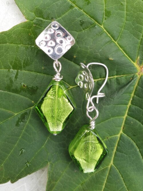 Silver and glass earring kit